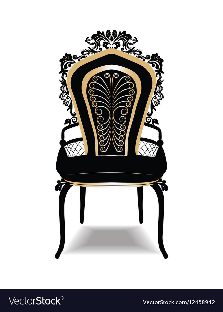 Superieur Vintage Baroque Golden Chair Vector Image