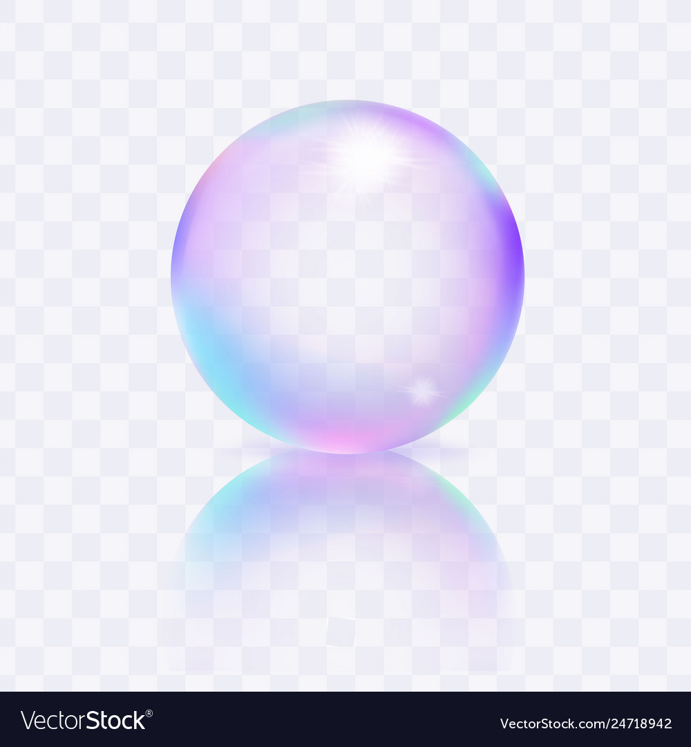Water soap bubble with reflexion and shadow