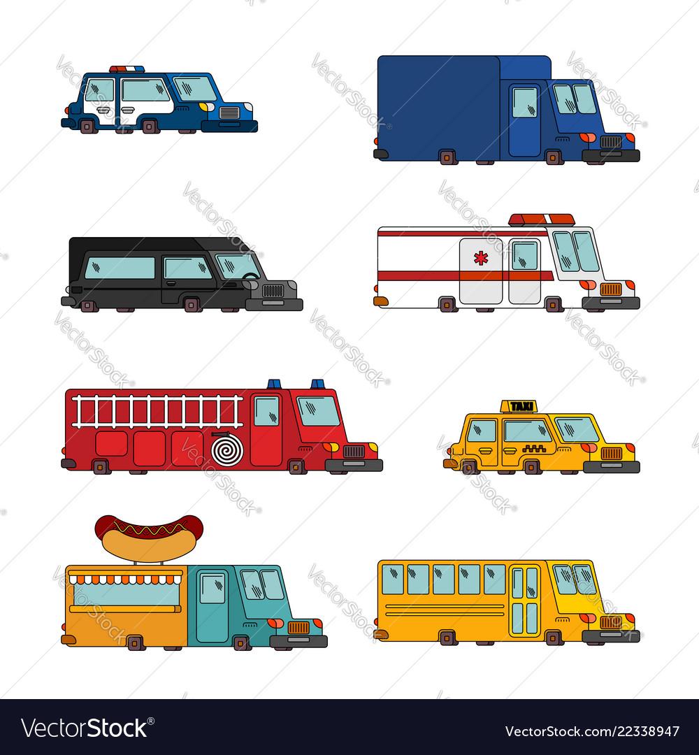 Car cartoon set fire engine and police car