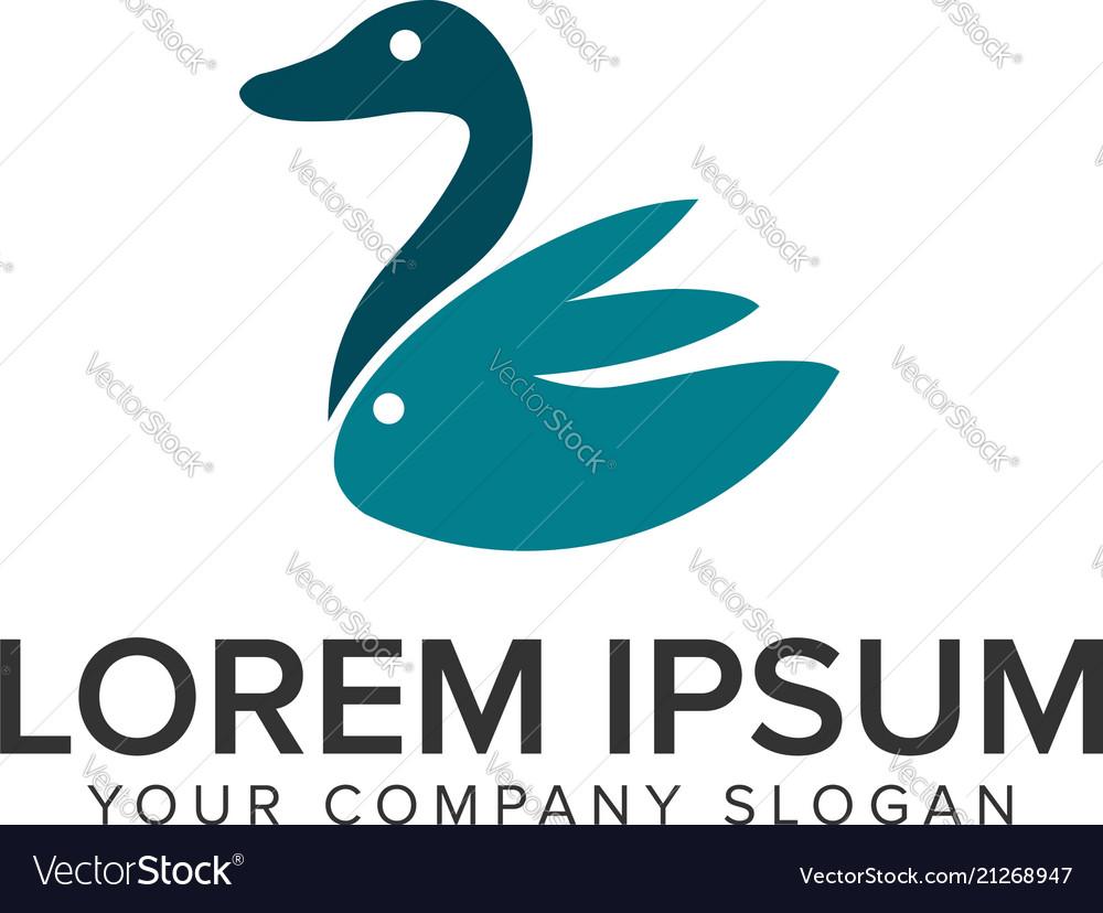 Duck rabbit minimalist logo design concept