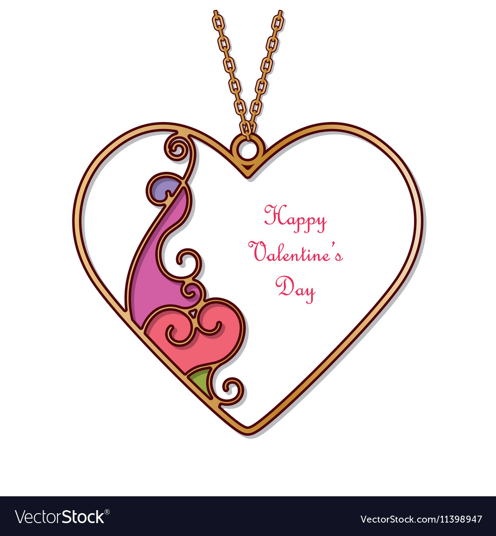 Gold pendant in the shape of heart royalty free vector image gold pendant in the shape of heart vector image aloadofball Image collections