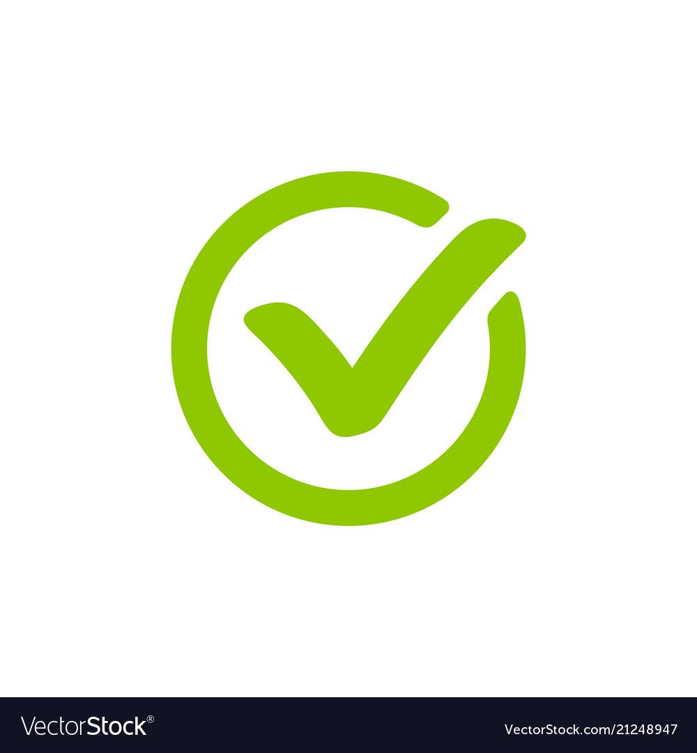 Green check mark icon in a circle