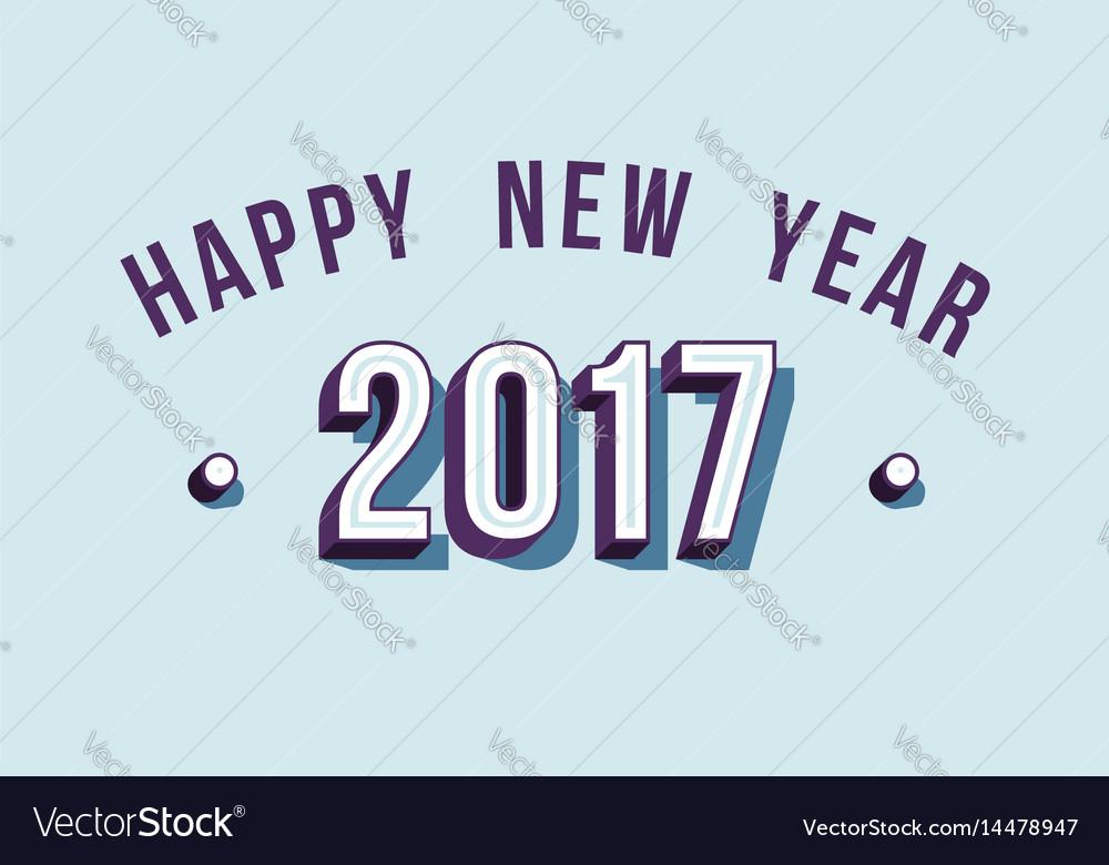 Happy new year 2017 varsity style retro typography