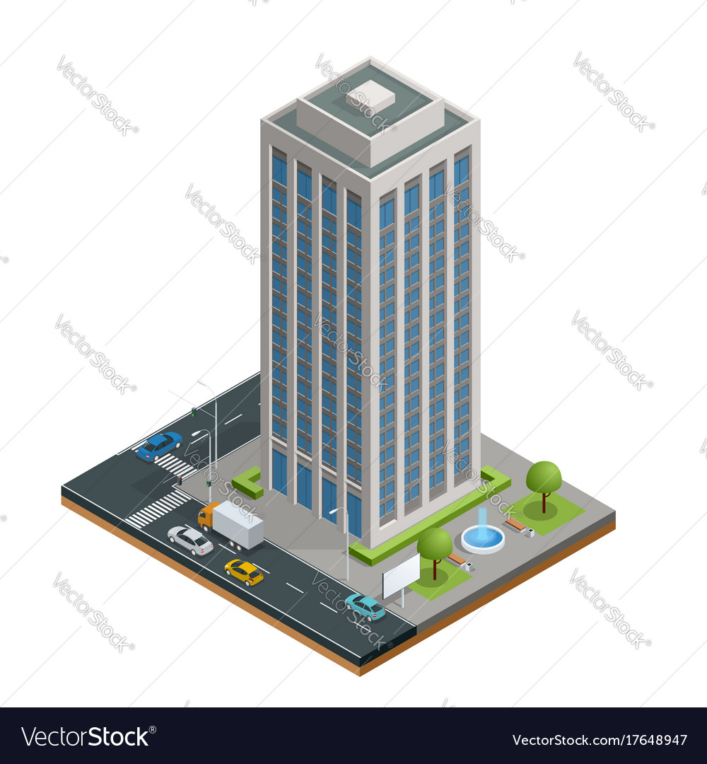Isometric city houses composition with building