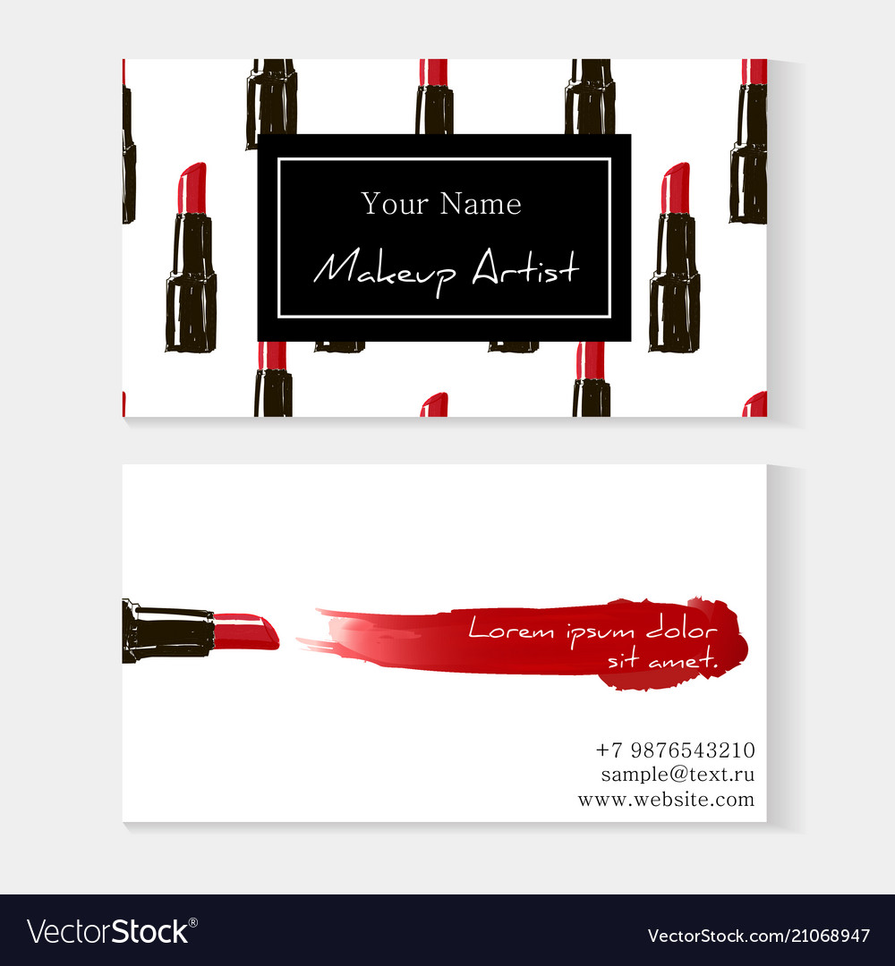 Makeup artist business card template red lipstick vector image flashek Image collections