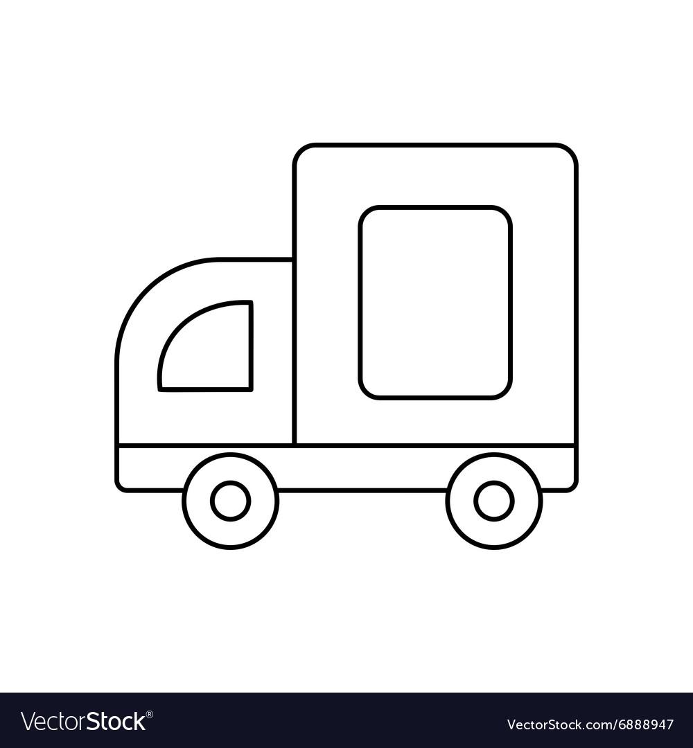Medium truck line icon vector image
