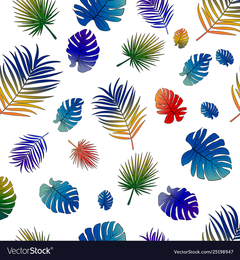 Pattern vivid gradient tropical leaves