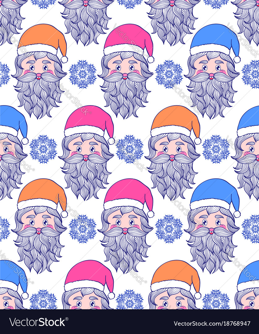 Pattern with hand drawn head of santa