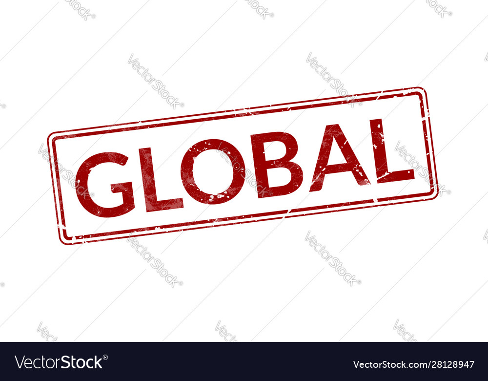 Red stamp with word global rubber seal