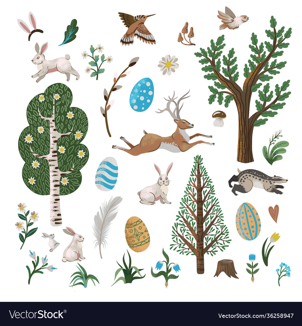 Rustic elements such as trees rabbits eggs