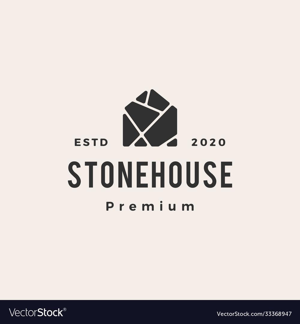 Stone house hipster vintage logo icon