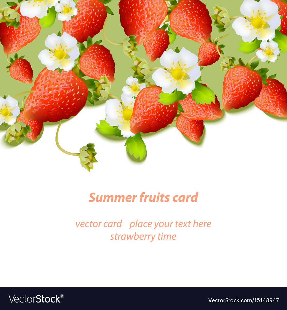 Summer strawberries blossom flowers fruits card