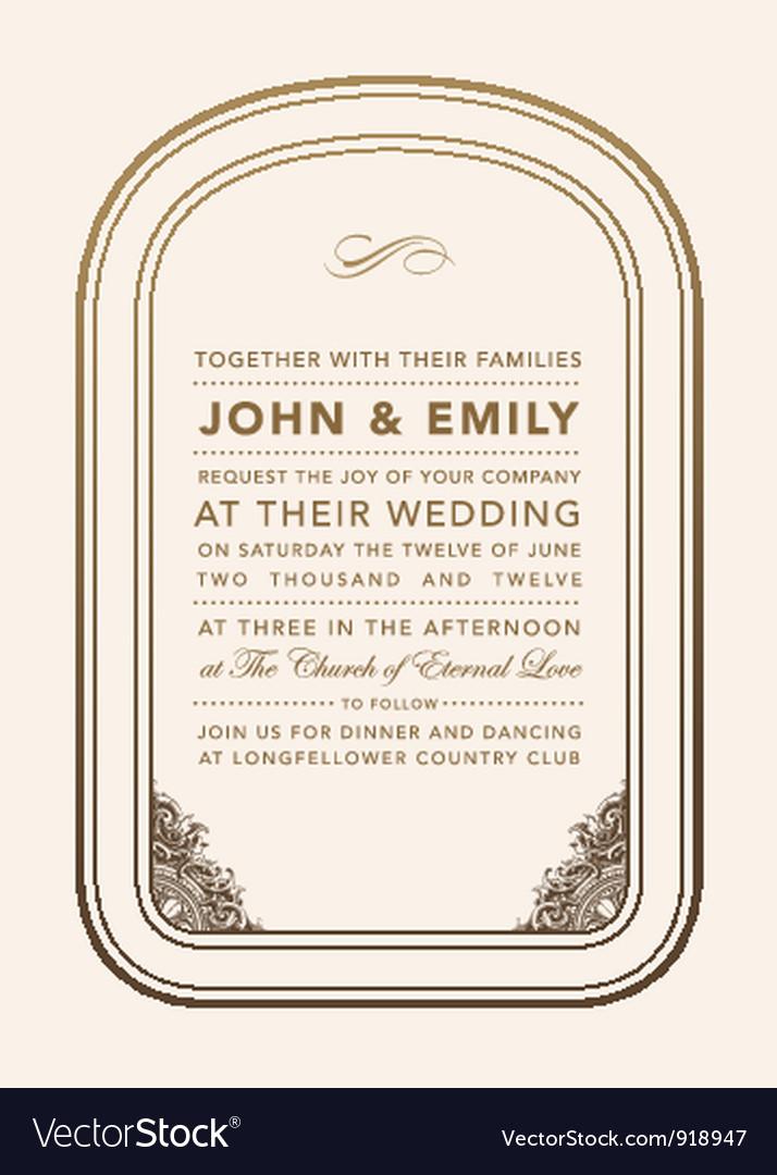 Vintage wedding invite vector image