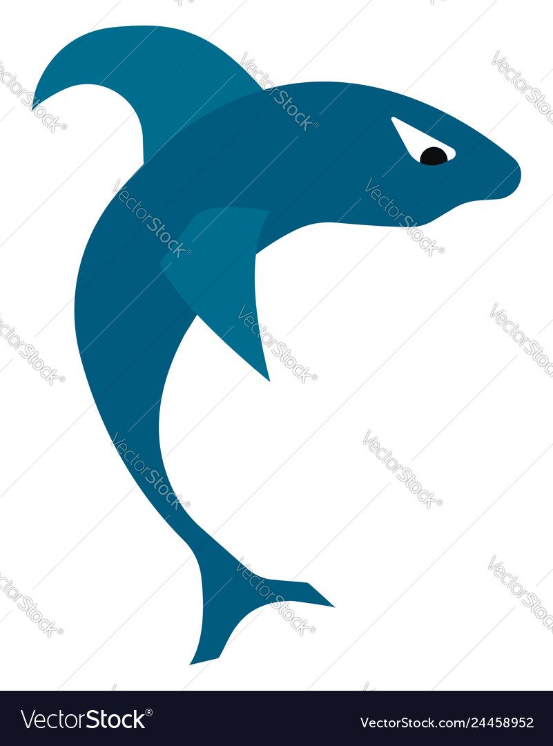 A blue shark in jumping out of water or color