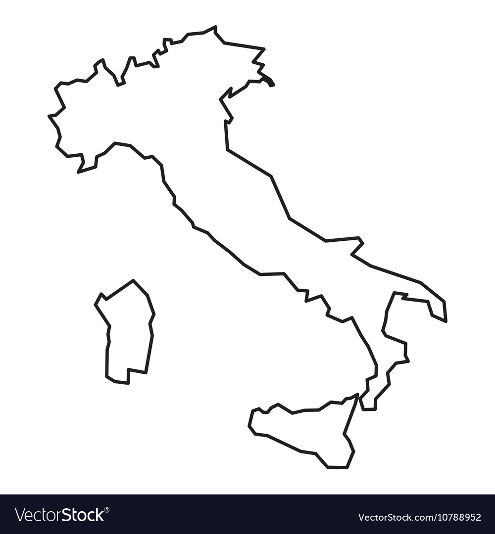 Italy Map Black And White.Black Contour Map Of Italy Royalty Free Vector Image