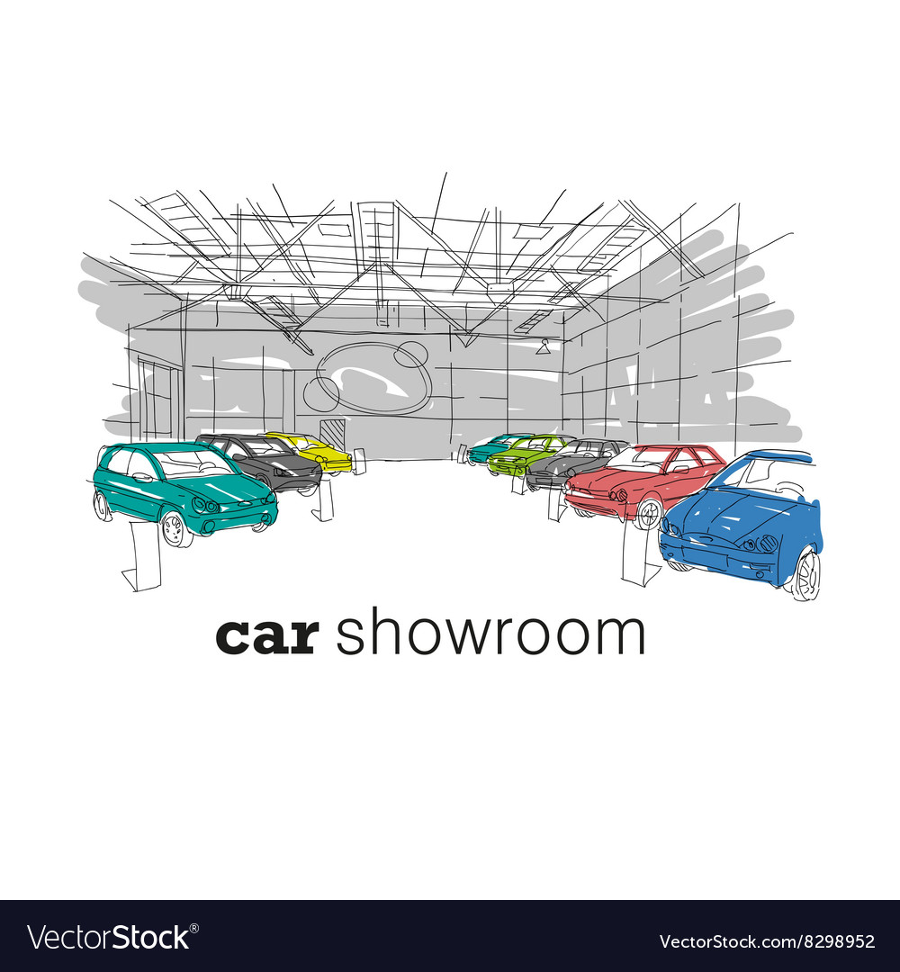 Car showroom interior design sketch vector image
