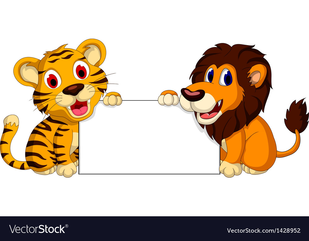 Cute lion and tiger cartoon with blank sign