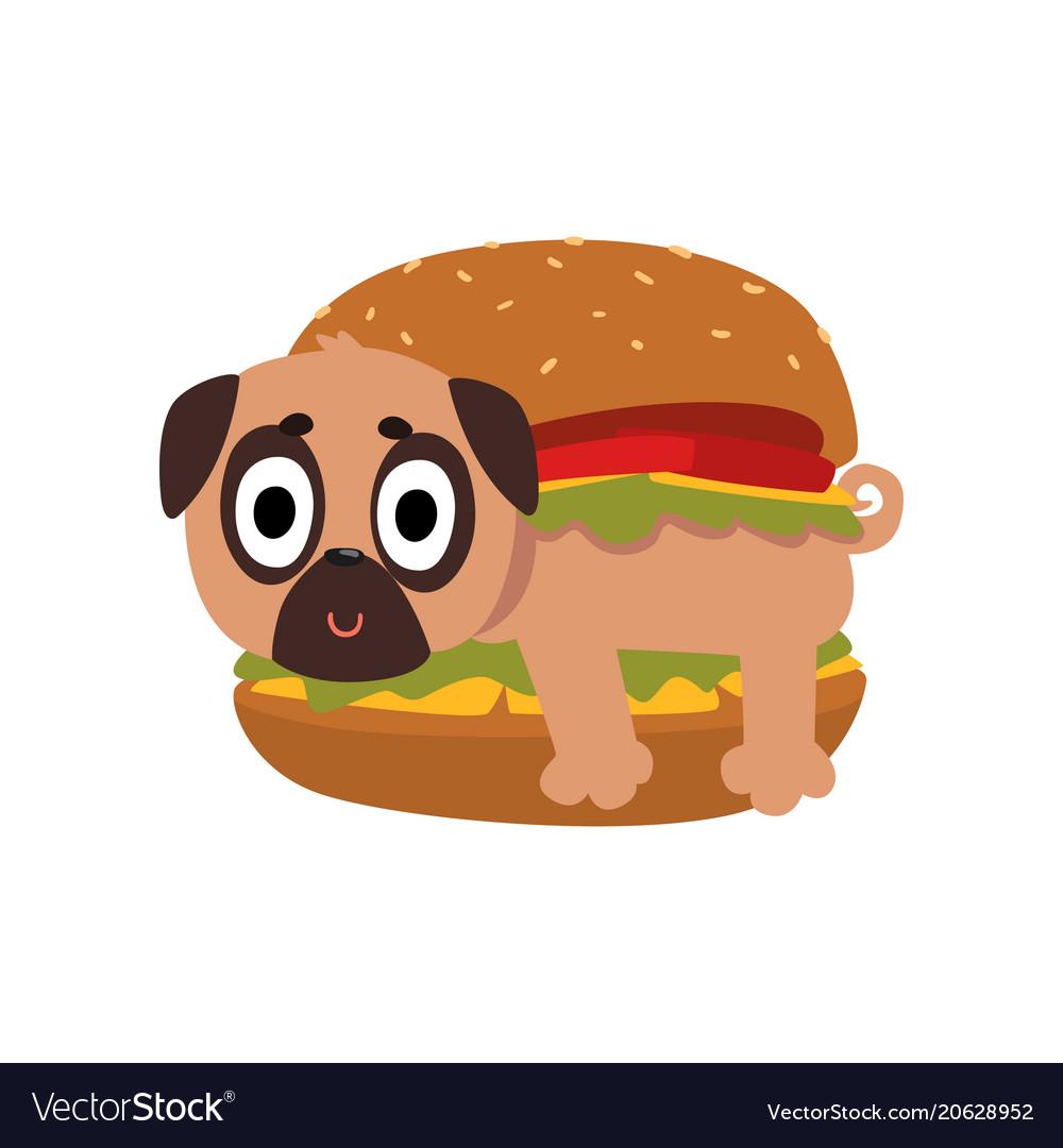 Cute pug dog in hamburger funny dog character