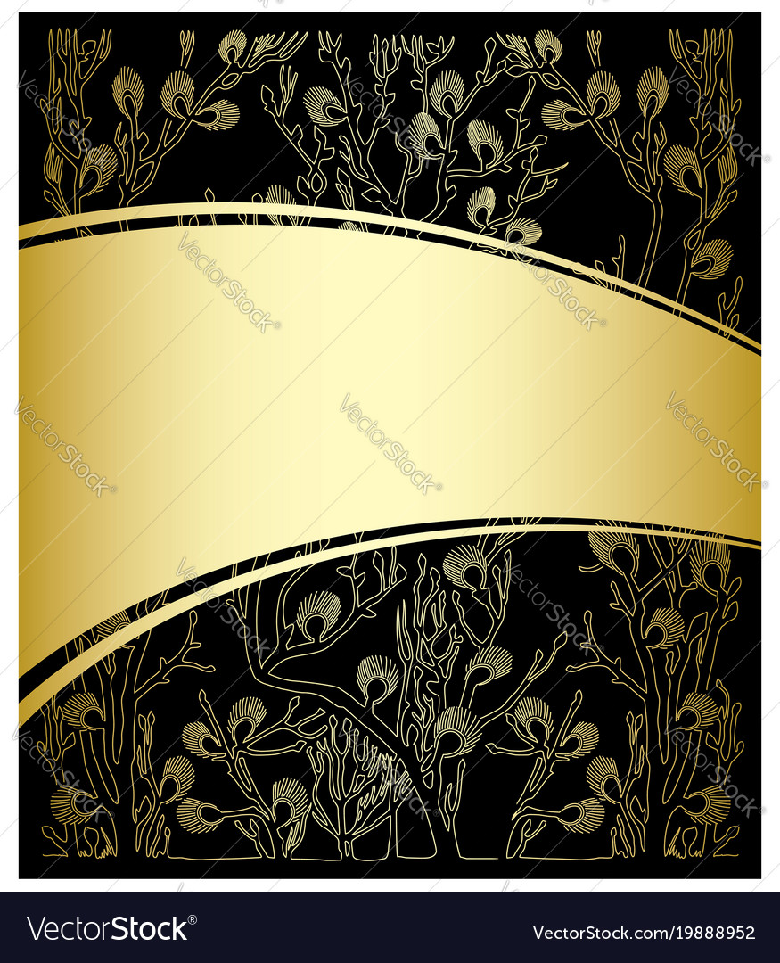 Gold And Black Background With Floral Pattern