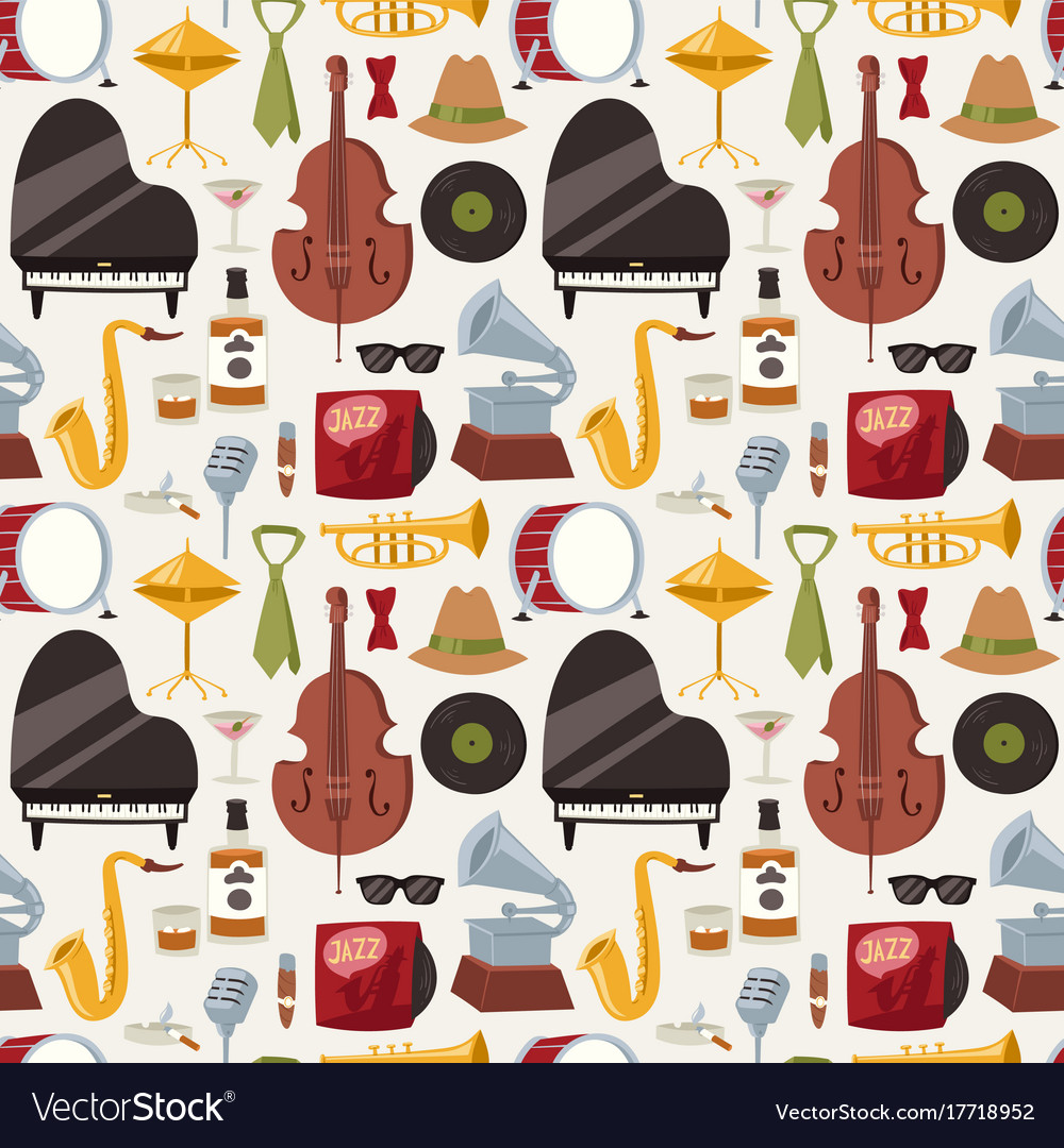 Jazz musical instruments jazzband music seamless
