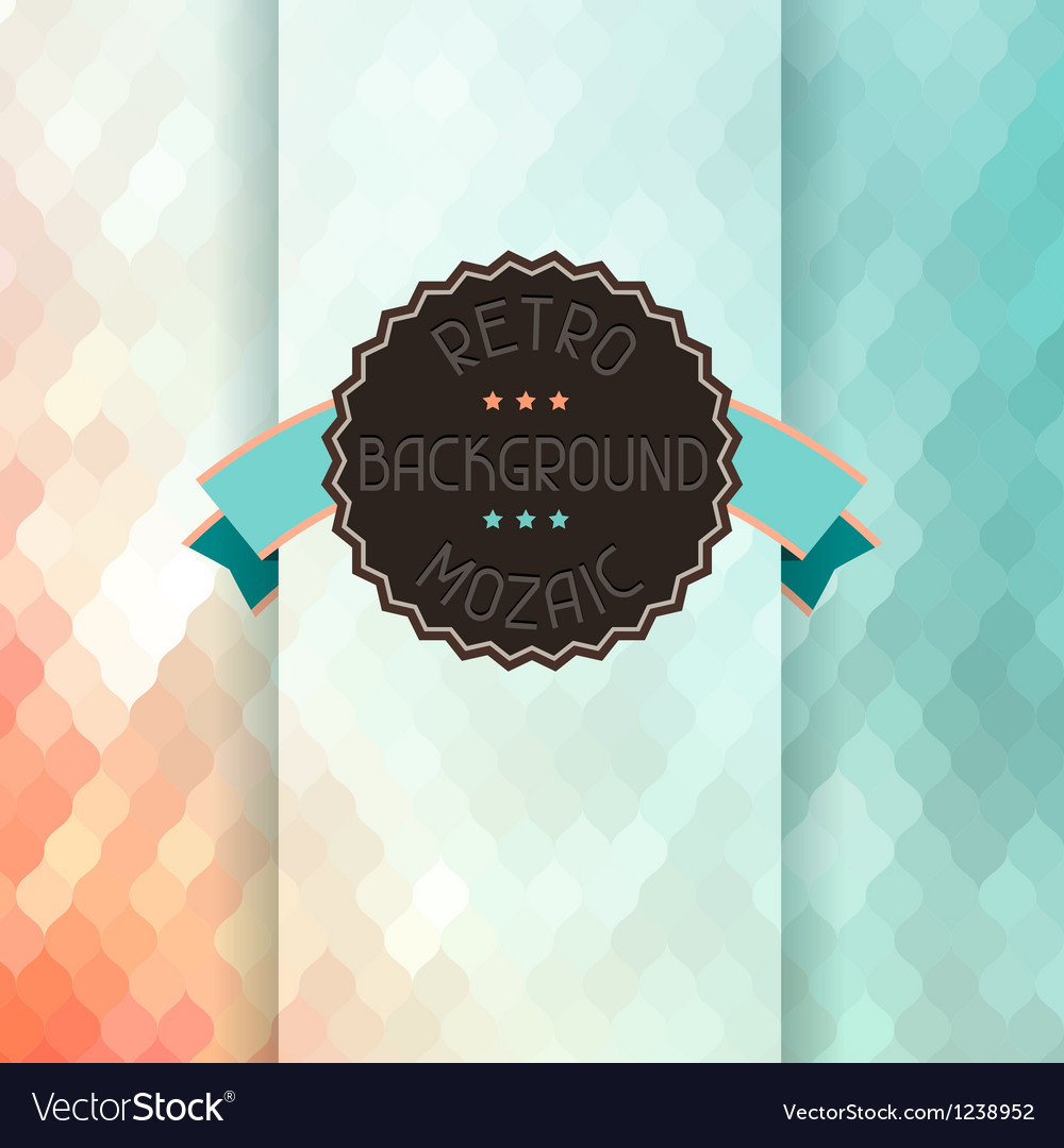 Mosaic background with ribbon and badge in retro