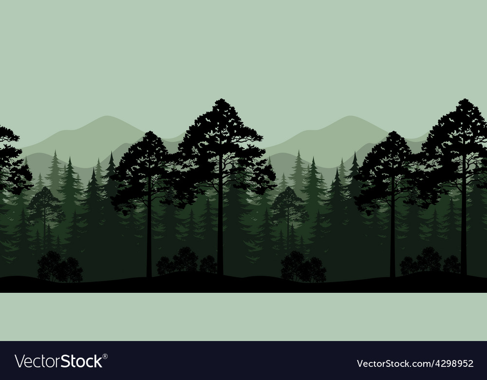 Seamless Landscape Trees and Mountain Silhouettes