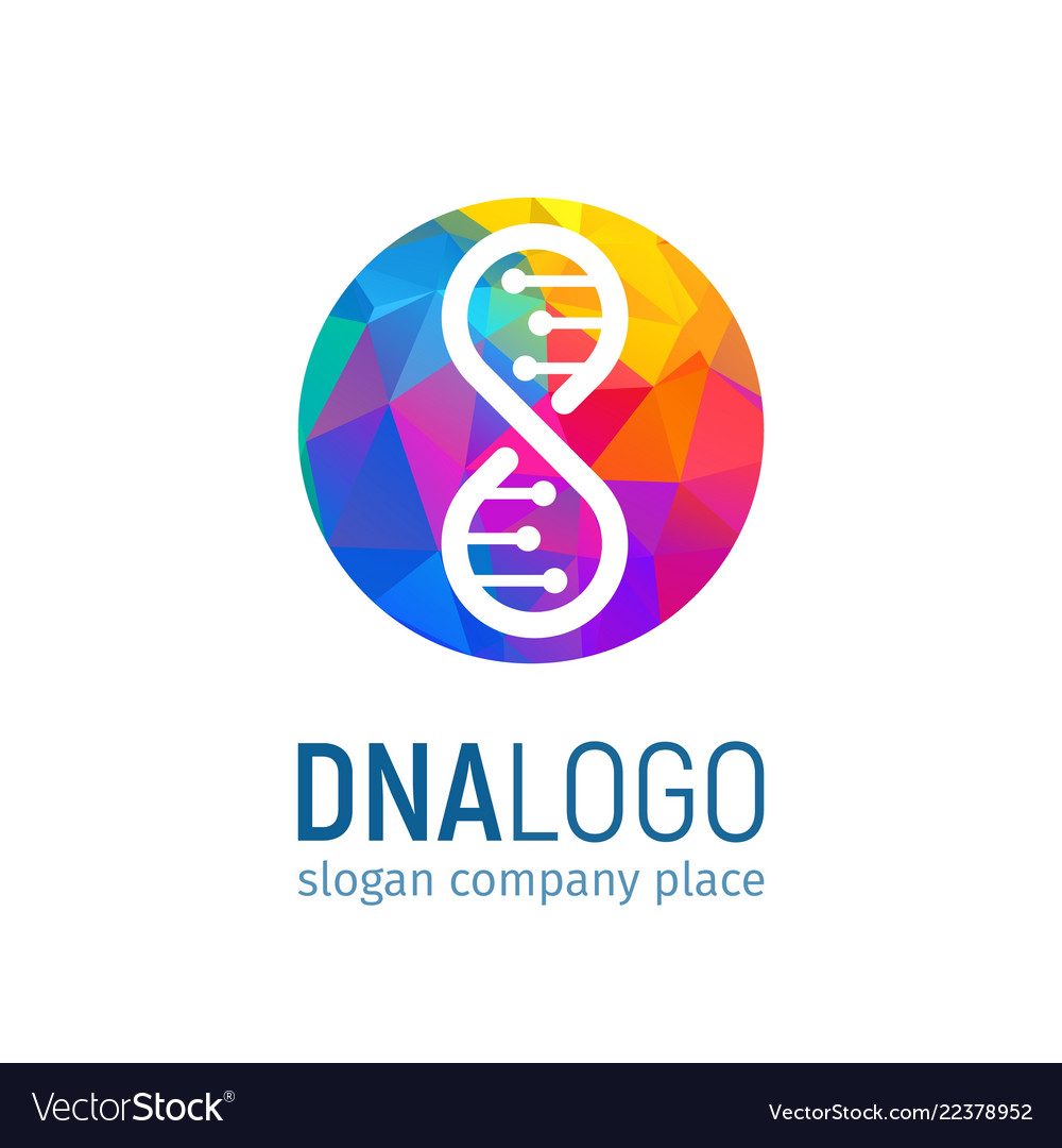 The logo of the dna in circle with a polygonal