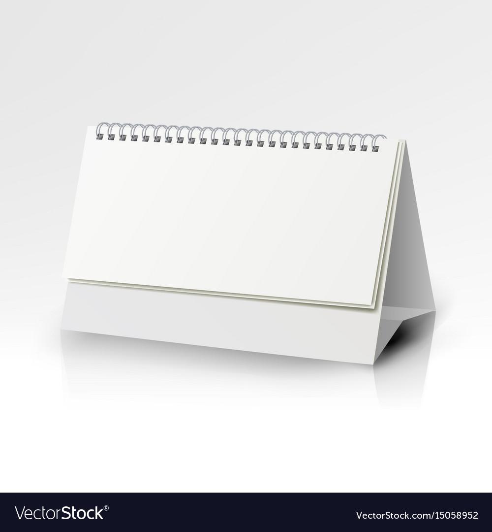 White blank paper desk spiral calendar spiral