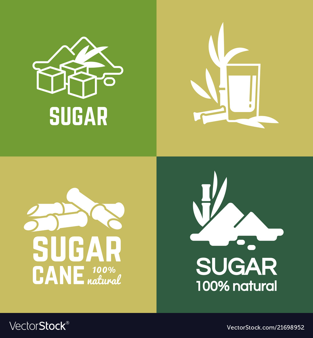 White sugar labels logo design cane and vector