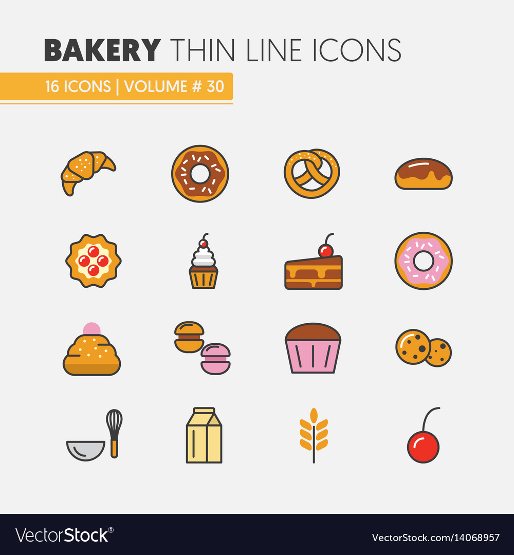 Bakery and desserts thin line icons set