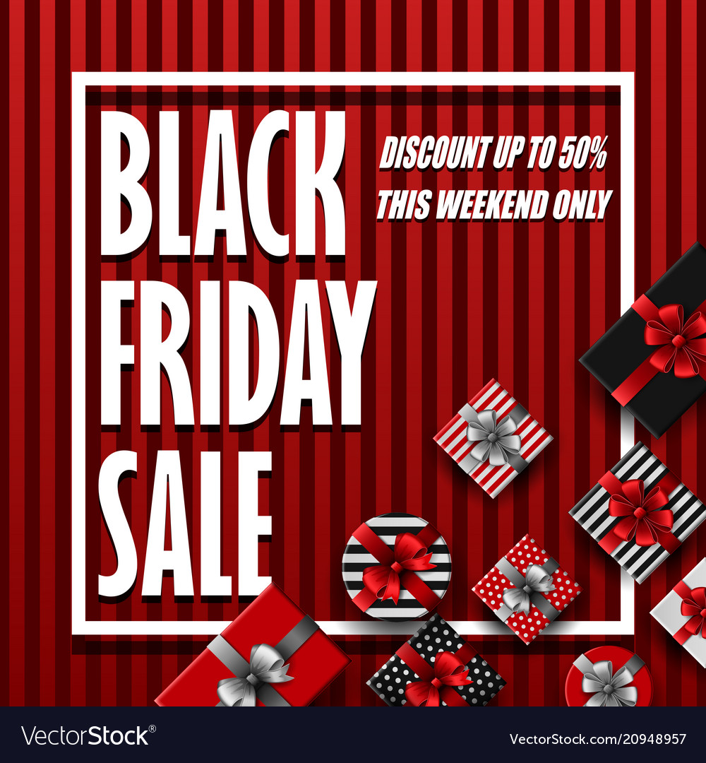 Black friday sale banner with different gift boxes