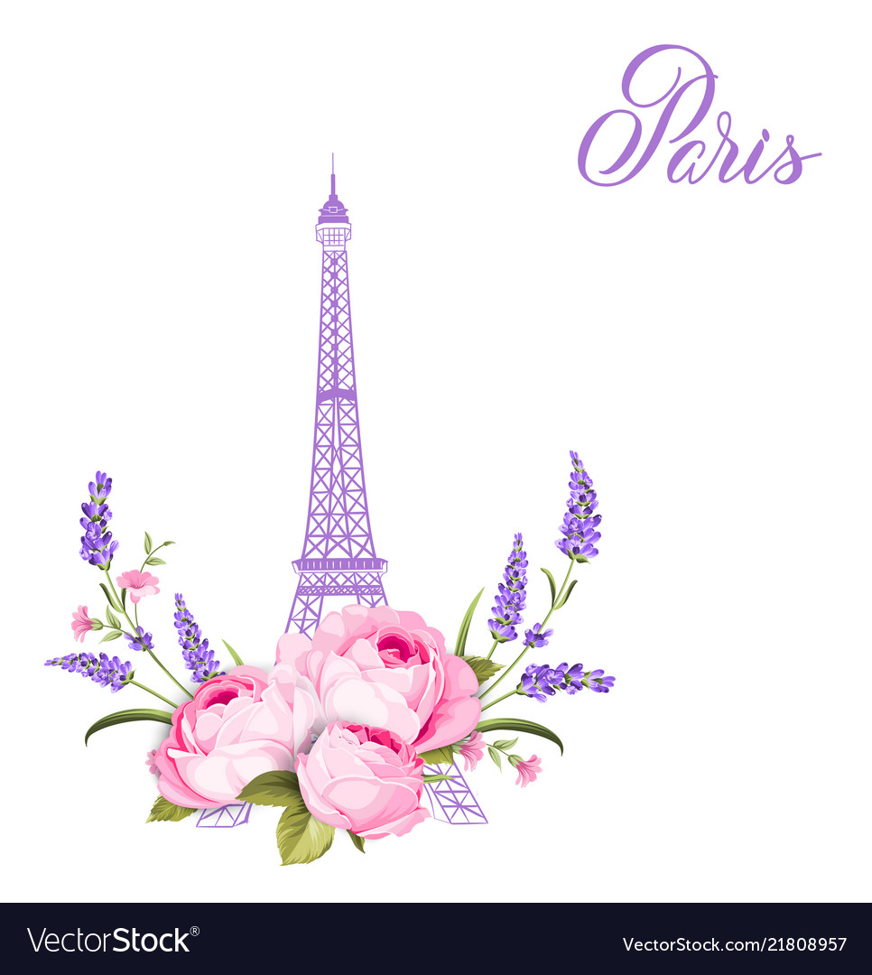 Eiffel tower with lavender flowers isolated over