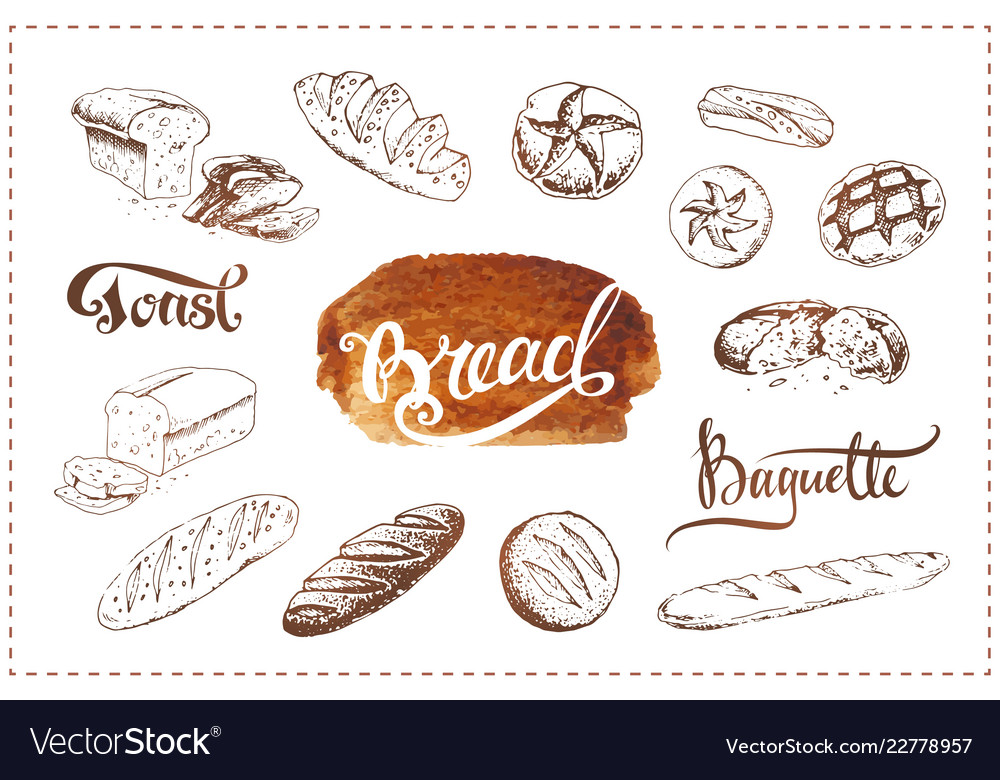 Hand drawn bakery icons set food sketches