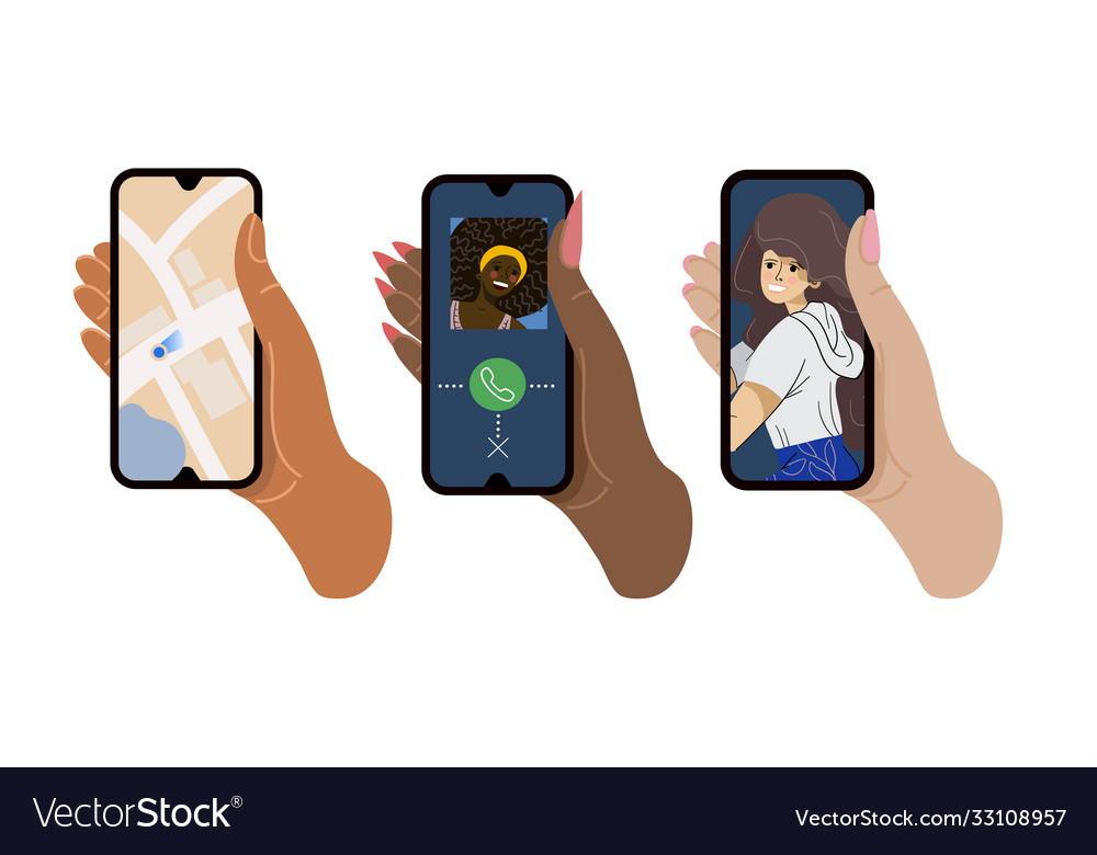 Hand holds a smart phone with a video call
