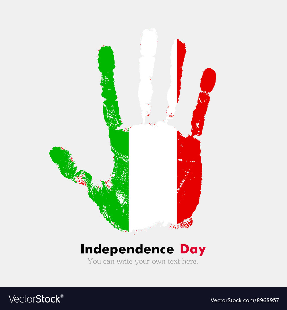Handprint With The Flag Of Italy In Grunge Style