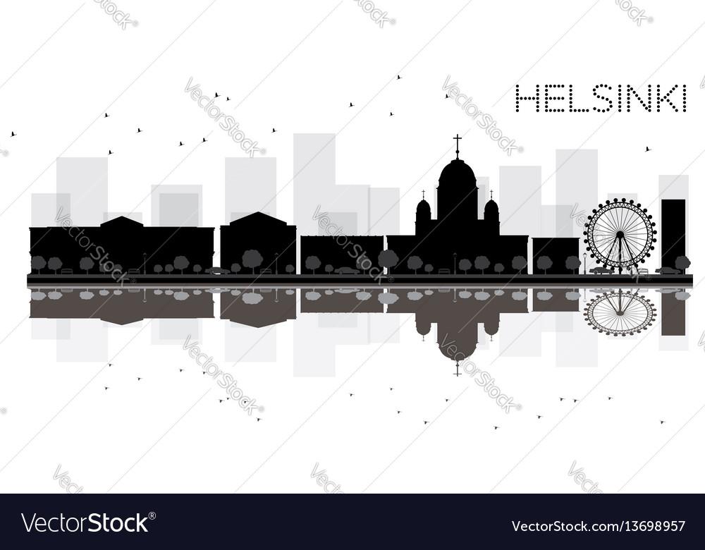 Helsinki city skyline black and white silhouette vector image