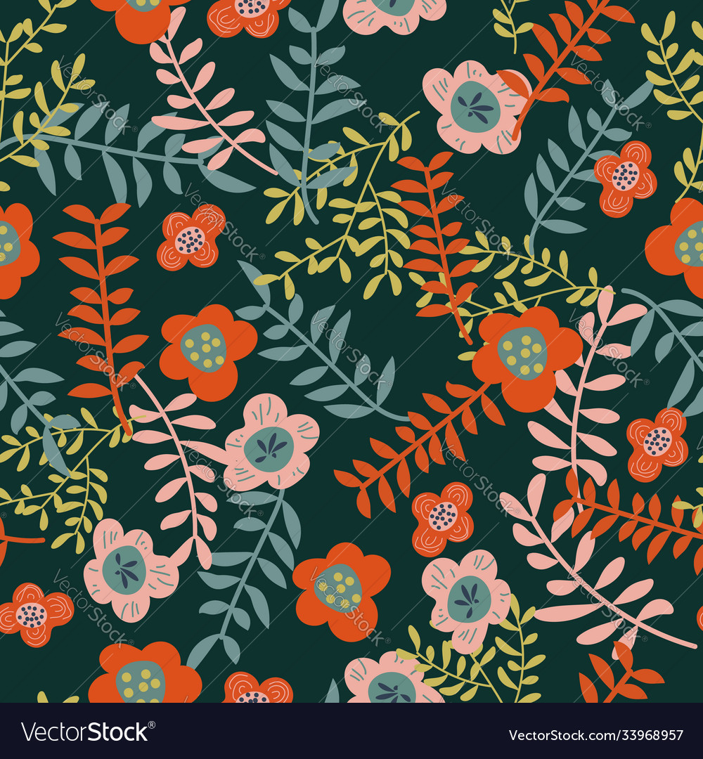 Seamless pattern with flowers and leaves on dark