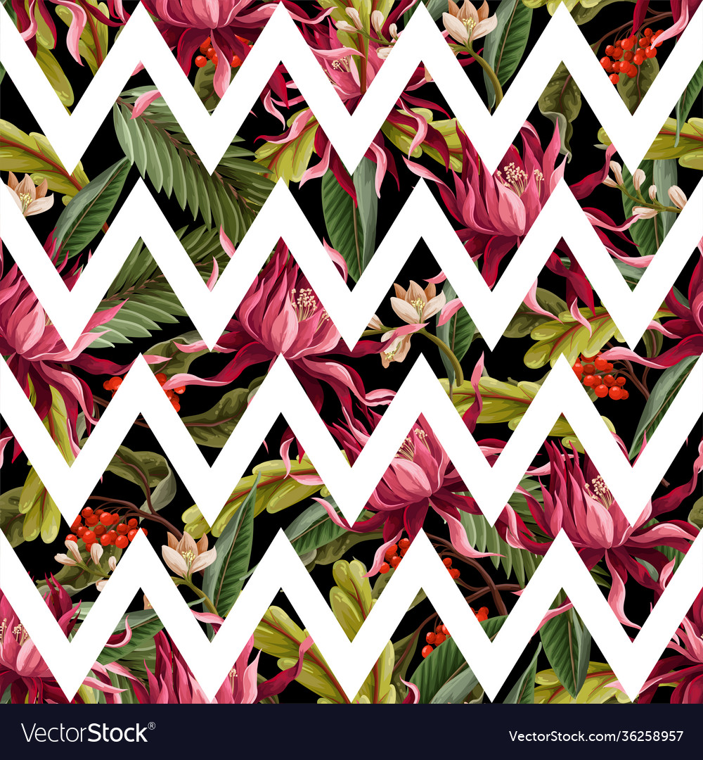 Seamless pattern with tropical leaves and flowers
