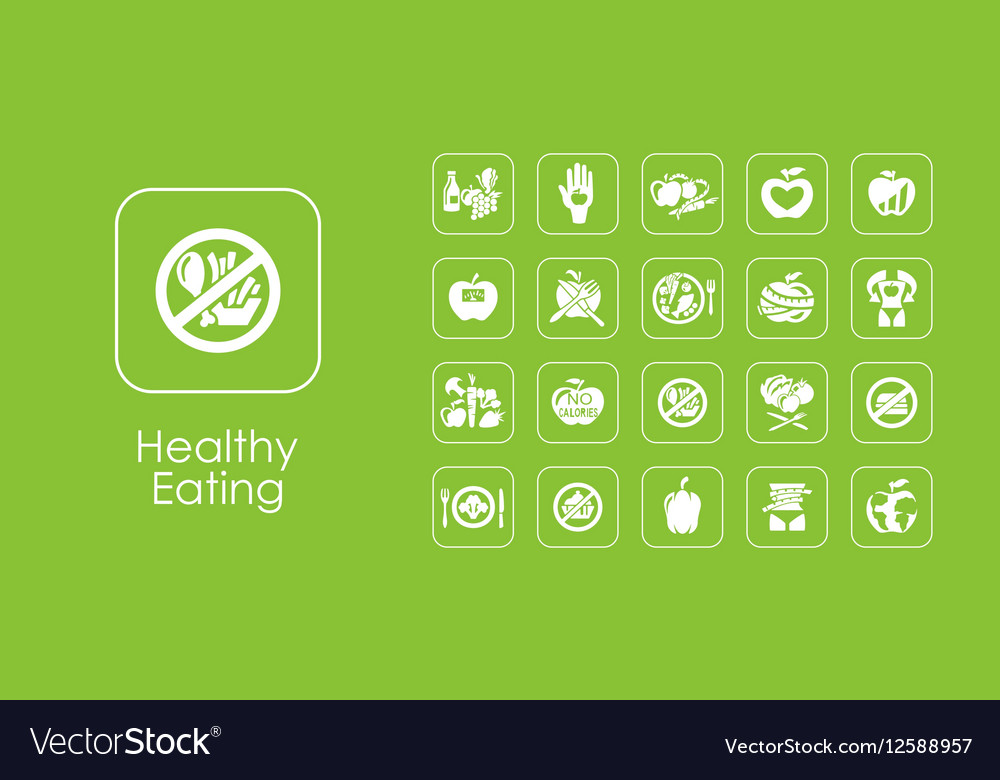 Set of healthy eating simple icons