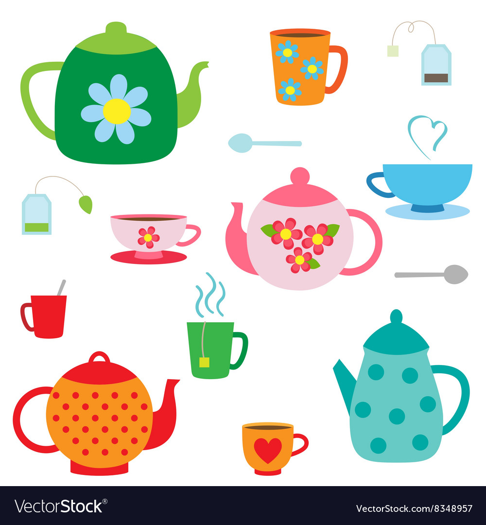 Set of teapots and cups