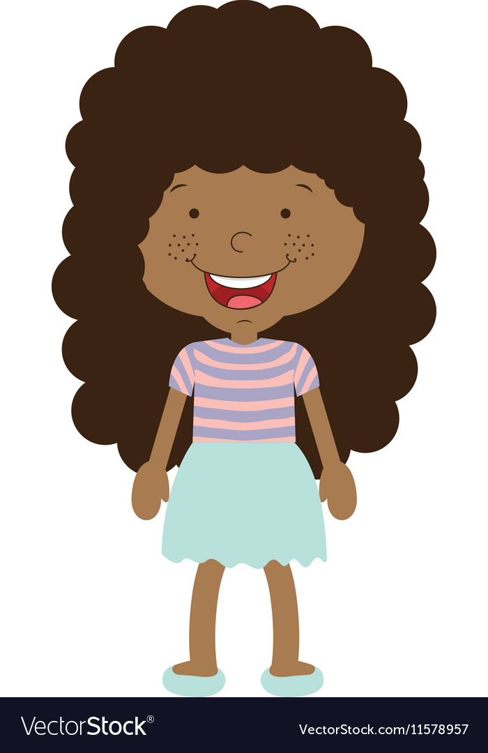 Silhouette afro girl with skirt vector image