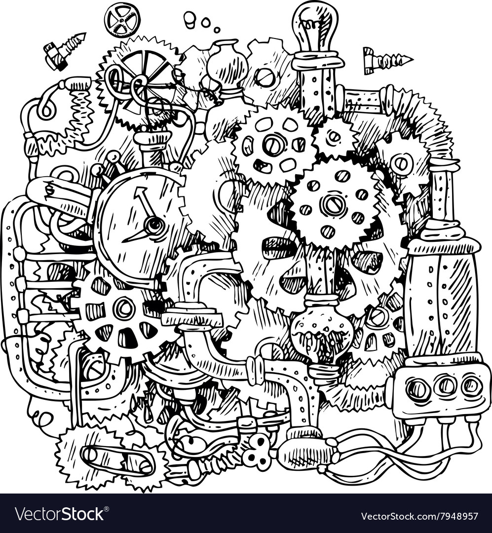 sketch steampunk mechanism royalty free vector image