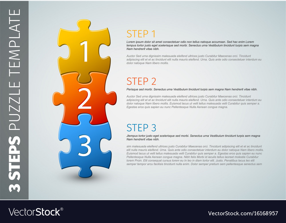 Three steps puzzle template
