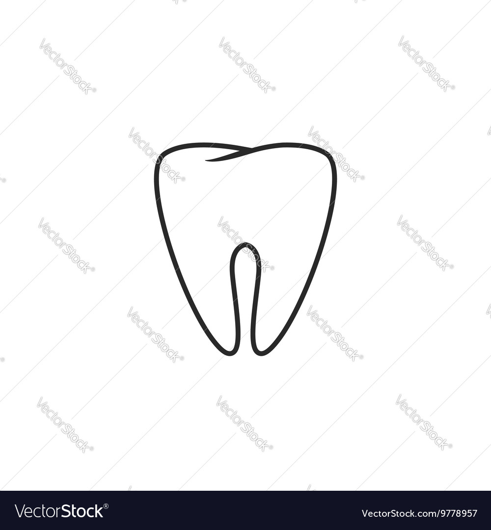 Tooth icon outline style sketch of teeth vector image