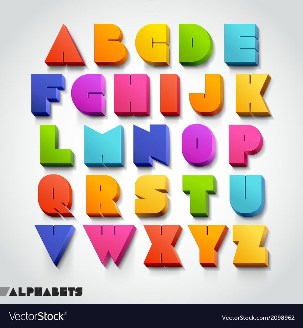 3D alphabet colorful font vector image