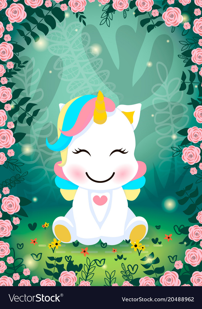 a unicorn in a magical forest world royalty free vector
