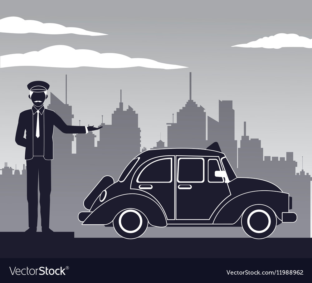 Antique cab car driver service public pictograh