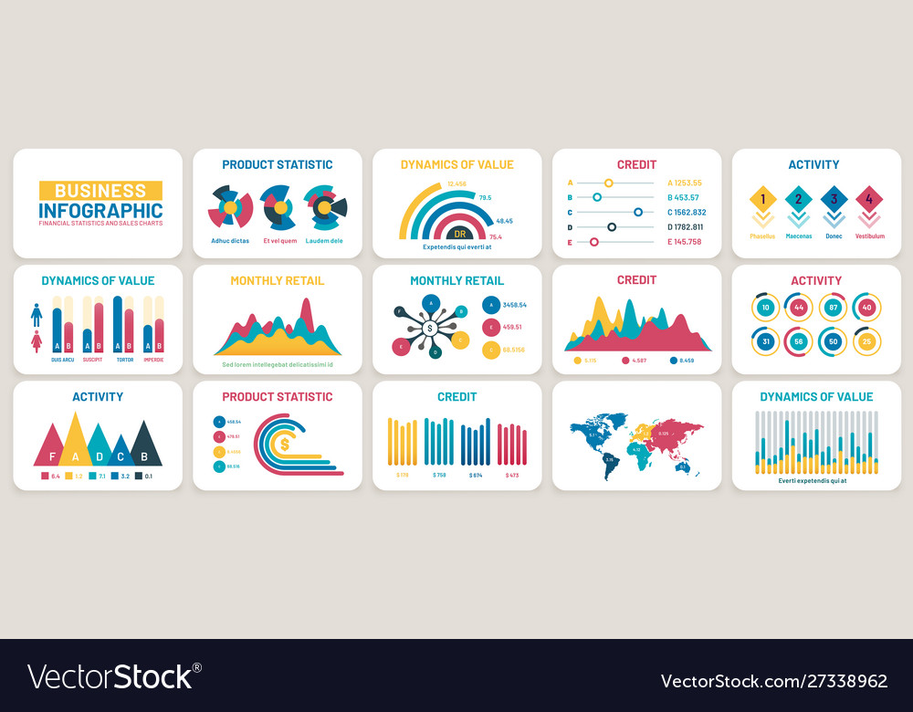 Business presentation charts finance reports