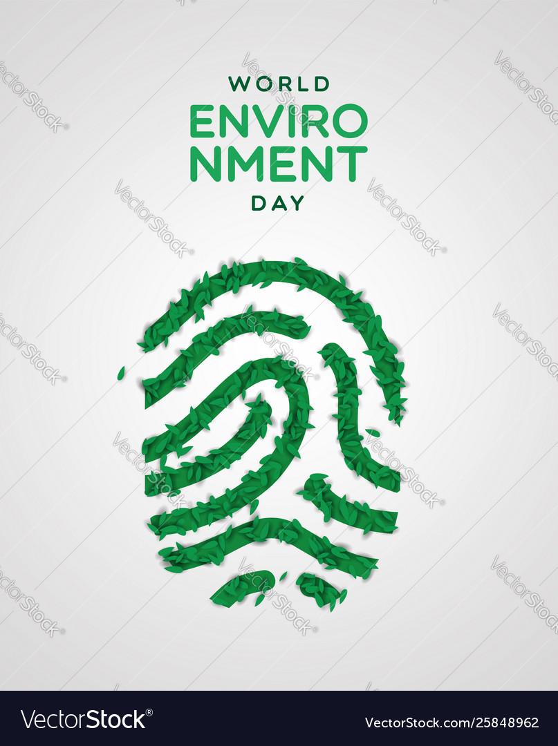 Environment day card green leaf fingerprint