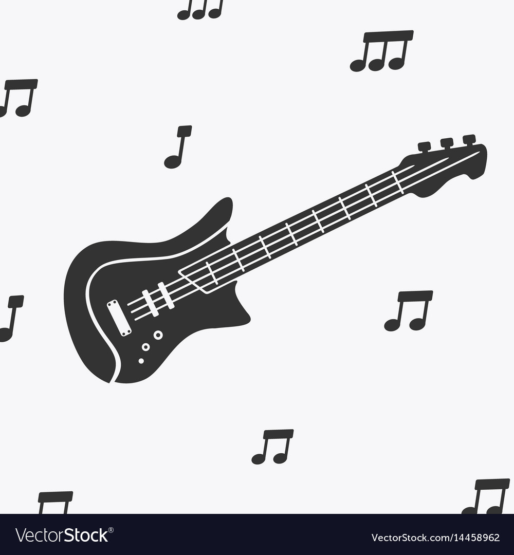 Guitar silhouette and notes